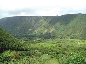 aerial view of Waipio Valley on Hawaii Island